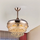3 Clear Blades Ceiling Fan Light Contemporary Crystal Orbs LED Gold Semi Flush Lamp, 42.5