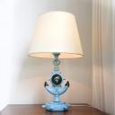 Resin Marine Anchor Table Light Mediterranean 1 Head Light-Blue Night Lamp with Cone Fabric Shade