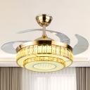 Drum Ceiling Fan Light Modern Crystal Block 42.5