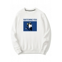 Cool Mens Letter Watching You Cartoon Cat Graphic Long Sleeve Round Neck Relaxed Pullover Sweatshirt