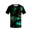 Exclusive Mens Tiger 3D Print Short Sleeve Crew Neck Slim Fitted Tee Top in Black