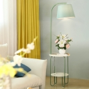 Blackish Green Tapered Drum Floor Lamp Nordic 1 Bulb Fabric Standing Light with Table