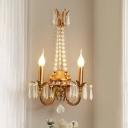 Transitional Candlestick Sconce Lighting 2 Lights Metallic Wall Lamp Fixture with Crystal Swag Design