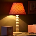 Conical Polka Dots Fabric Table Lamp Macaron Single Pink Night Stand Light with White Gourd Base