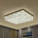 LED Crystal Flushmount Lighting Contemporary Clear Rectangle Living Room Ceiling Lamp