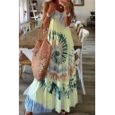 Leisure Womens Tie Dye Printed Spaghetti Straps Maxi Pleated A-line Cami Dress