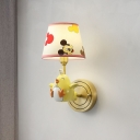 Cute Chicken Wall Lighting Cartoon Style 1 Bulb Yellow Wall Light Sconce with Fabric Lamp Shade