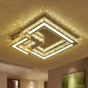Chrome Square Ceiling Lamp Contemporary Faceted Crystal Dining Room LED Flush Light