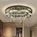 White LED Ceiling Lighting Modern Crystal Ball Flower Flush Mount Light in 3 Color Light