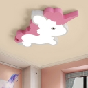 Cartoon LED Ceiling Lighting Pink Unicorn Flush Light Fixture with Acrylic Shade in Warm/White Light