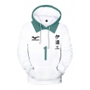 Trendy Mens White Contrasted Letter Number 3D Cosplay Print Long Sleeve Drawstring Kangaroo Pocket Relaxed Hoodie