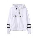 Pretty Looks Letter Friends Cartoon Figure Graphic Varsity Striped Long Sleeve Drawstring Relaxed Hoodie for Boys
