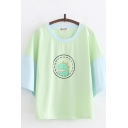 Kawaii Girls Dinosaur Printed Half Sleeves Crew Neck Contrasted Relaxed Tee in Green