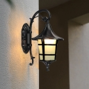 Retro Lantern Wall Lamp Sconce 1-Bulb Opal Glass Wall Mounted Lighting in Black/Coffee/Bronze for Courtyard