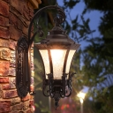 Bell Ripple Glass Wall Sconce Rustic 1-Bulb Outdoor Wall Mounted Light Fixture in Black