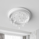 Nordic LED Ceiling Flush White Star Shaped Flushmount Lighting with Acrylic Shade, White/Warm Light