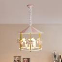 Resin Unicorn Chandelier Light Cartoon 5 Bulbs Pink/Blue Pendant Lighting Fixture for Kids Bedroom