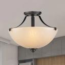 White 2 Bulbs Semi Flush Traditional Amber Crackle Glass Bowl Ceiling Flush Mount for Bedroom