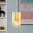 Stainless Steel Polished Gold Drop Pendant Cylindrical 1 Head Minimalist Hanging Light with Inserted Crystal