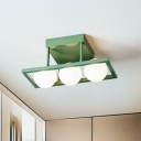 Geometric Metal Semi Mount Lighting Modern 3/4/6 Heads Green Flushmount with Sphere Milk Glass Shade