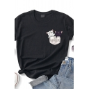 Leisure Pocket Cats Printed Rolled Short Sleeve Crew Neck Slim Fit T-shirt for Ladies