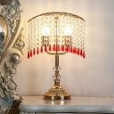 Modernist Cascade Nightstand Lamp 2 Bulbs Clear Faceted Crystal Night Table Lighting in Chrome/Gold
