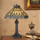 Cone Shade Green/Beige Glass Table Light Mission Style 1 Light Bronze Nightstand Lamp for Bedroom