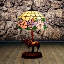 Dome Night Lamp 1-Head Cut Glass Mediterranean Petal Patterned Table Light in Coffee with Horse and Kid Deco