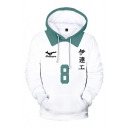 Designer Japanese Letter 11 3D Cosplay Pattern Contrasted Long Sleeve Drawstring Loose White Hoodie with Pocket