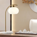 Post-Modern Oval White Glass Table Lamp 1-Bulb Night Stand Light with Brass Bow Arm
