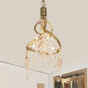 Gold Twisting Chandelier Country Style Cascading Crystal 4-Bulb Restaurant Suspension Lamp