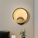 Nordic LED Wall Mount Lamp Black/White-Gold Chinese Fan-Like Sconce Lighting with Acrylic Shade in Warm/White Light