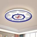 Blue Marine Rudder Ultrathin Flush Mount Mediterranean Acrylic LED Ceiling Flushmount Lamp with Halo Hoop