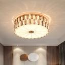 9 Lights Color-Block Crystal Ceiling Flush Modernist Gold Drum Bedroom Flushmount Lighting with Diffuser