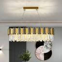 Oblong Kitchen Island Pendant Postmodern Crystal 10 Bulbs Black and Gold Hanging Lamp Kit