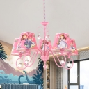 Cartoon Scroll Arm Chandelier Metal 5/6-Head Bedroom Pendant Ceiling Light with Shade in Pink/White