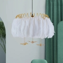 White 4-Light Hanging Pendant Contemporary Metal Feather Ceiling Chandelier for Bedroom