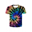 Unique Tie Dye Vortex 3D Printed Short Sleeve Crew Neck Slim Fit T Shirt for Boys