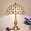 2 Bulbs Bedroom Night Lighting Tiffany Gold Beaded Patterned Nightstand Lamp with Lattice Bowl Shell Glass Shade