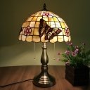 Shell Brushed Brass Pull Chain Table Lamp Lattice Bowl 2 Lights Victorian Butterfly and Petal Patterned Nightstand Lighting