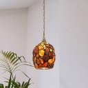 1-Head Dining Room Pendant Light Kit Tiffany Style Brass Hanging Lamp with Dome Stone Shade