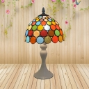 White 1 Light Night Lamp Mediterranean Stained Art Glass Bowl Shade Dotted Patterned Table Lighting