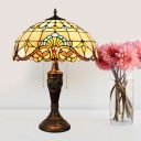 Domed Night Table Lamp Victorian Cut Glass 2-Light Beige/Blue and White Pull Chain Nightstand Light for Bedroom