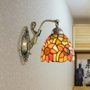 1 Light Sunflower/Peony Wall Lamp Tiffany Beige/Orange Stained Art Glass Wall Sconce Light for Living Room