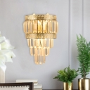 Tiered Tapered Crystal Prism Flush Mount Modernist 3-Head Living Room Wall Sconce Light with Gold Oriental Trim