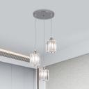 Clear Crystal Cylinder Multi Pendant Light Modernism 3-Light Silver Finish Ceiling Suspension Lamp