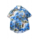 Blue Allover Coconut Tree Beach Patterned Short Sleeve Spread Collar Curved Hem Oversize Stylish Shirt Top