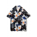 Mens Holiday Allover Daisy Floral Printed Short Sleeve Notch Collar Button down Loose Fit Shirt Top in Black