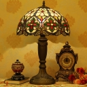 Floral Stained Art Glass Table Light Tiffany 1 Bulb Beige/Orange Night Stand Lamp with Pillar Pedestal