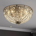 Bowl Crystal Flush Mount Light Traditional 3-Head Foyer Ceiling Lamp in Antique Bronze
